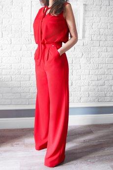 Bien Fashion - Czerwony kombinezon damski z szerokimi nogawkami