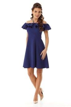 - Rozkloszowana sukienka w stylu hiszpanki granatowa ED018-2