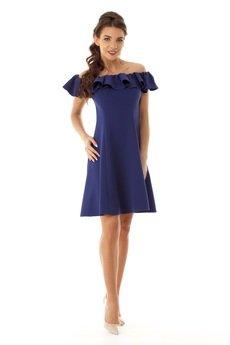 Ella Dora - Rozkloszowana sukienka w stylu hiszpanki granatowa ED018-2