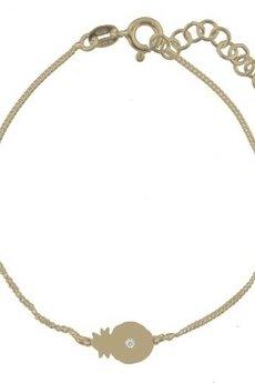 ATdiament - Srebrna pozłacana bransoletka ananas z cyrkonią 925