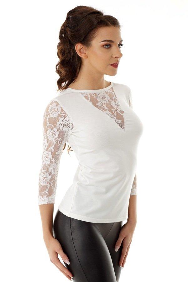 5bbddb90ac Bluzka Betty Z Koronką Ecru Ed015-1 - Biały