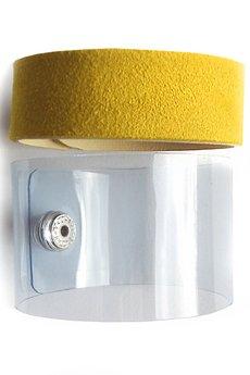 Mikashka - Komplet bransoletek skóra & plastik żółta