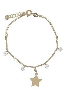 ATdiament - Srebrna pozłacana bransoletka z gwiazdką i i cyrkoniami