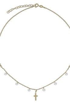 ATdiament - Srebrny pozłacany naszyjnik choker z krzyżykiem i cyrkoniami