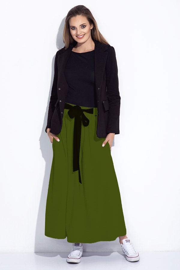 254fc8a1 Zielona Spódnica Maxi Z Kokardą W Pasie - Zielony | Bien Fashion ...