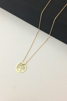 ATdiament - Złoty naszyjnik koło z drzewko szczęścia 333