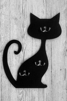 "Judesign - Wieszak na klucze ""Kot"" czarny"