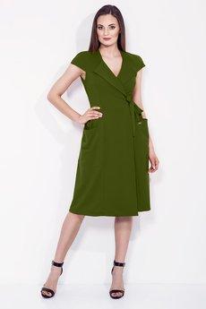 Bien Fashion - ZIELONA SUKIENKA KOPERTOWA Z WIĄZANIEM W TALII