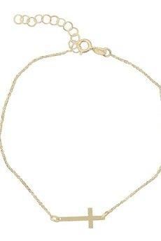 ATdiament - Złota bransoletka krzyżyk 333