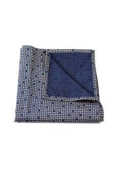 r3s men's accessories - POSZETKA JEDWABNA NAVY BLUE UNIQUE