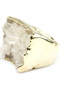 Brazi Druse Jewelry - InspiRING 3/4 Gold Kryształ Górski rozmiar 16