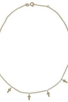 ATdiament - Srebrny pozłacany naszyjnik choker z krzyżykami