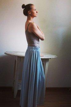 Szarymary - Długa zwiewna spódnica denim