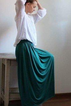 Szarymary - Długa zwiewna spódnica zieleń butelkowa