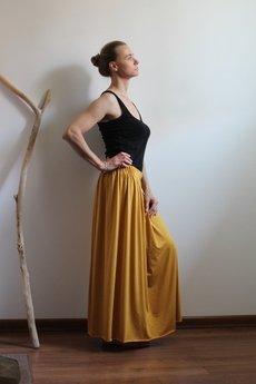 Szarymary - Długa zwiewna spódnica musztarda