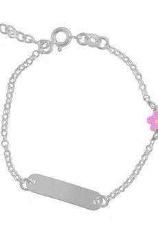 ATdiament - Srebrna bransoletka z blaszką kwiatek dla dzieci