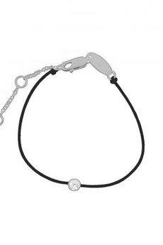 ATdiament - Bransoletka na szczęście z cyrkonią na czarnym sznurku