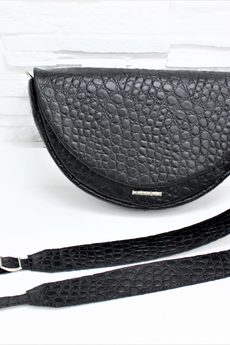 FABIOLA - Skórzana – FREYA M czarny krokodyl mat