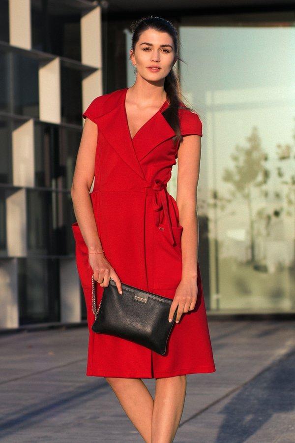 ddb157923 Czerwona Kopertowa Sukienka Z Wiązaniem W Talii - Czerwony | Bien Fashion |  Sukienki Damskie | Mustache.pl