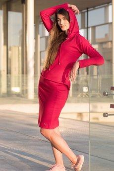 Bien Fashion - CZERWONA BLUZA Z KAPTUREM I SREBRNYMI KÓŁKAMI
