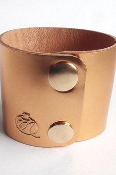 Mikashka - Bransoleta skórzana skóra miedziana lustro
