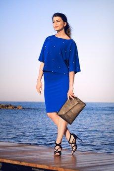 Bien Fashion - NIEBIESKA SPÓDNICA OŁÓWKOWA BASIC