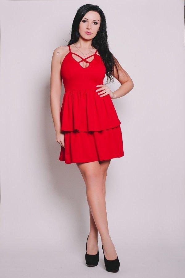 b168132899 Larissa Sukienka Podwójnie Rozkloszowana Czerwona - Czerwony