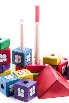 Tarnawa Toys - Drewniany domek z kolorowych klocków, Montessori
