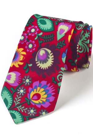 Krawat męski FOLK w kwiaty łowickie czerwony