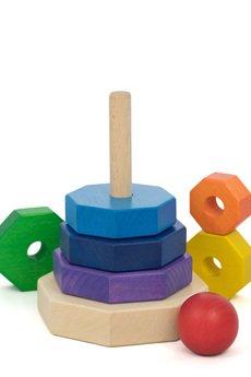 Tarnawa Toys - WIEŻA Z TĘCZOWYCH KLOCKÓW- OŚMIOKĄT