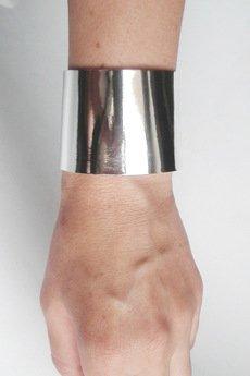 Mikashka - Bransoleta skórzana skóra srebrna lustro