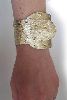 - Bransoleta skórzana skóra wrapped złota struś