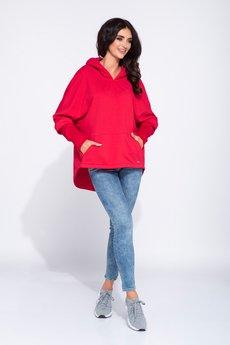Bien Fashion - Czerwona sportowa bluza damska z kapturem
