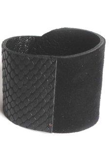 Mikashka - Bransoleta skórzana skóra wrapped czarna wąż