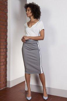 Lanti - Ołówkowa spódnica midi z lampasami, SP117
