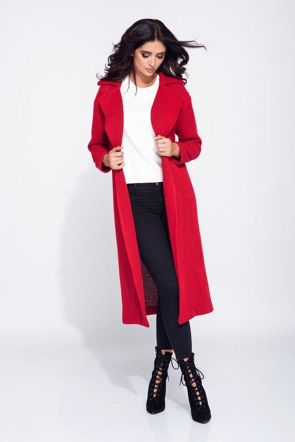 9743205ac0f1ed Długi Kardigan Damski Z Kołnierzem - Czerwony I Granatowy   Bien Fashion    Swetry Damskie   Mustache.pl