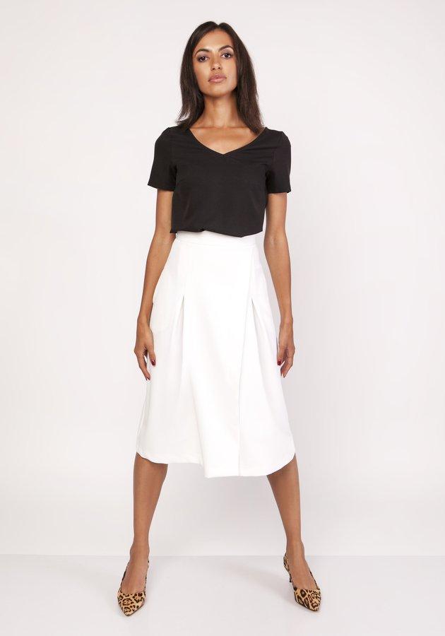 2159d4f2 Rozkloszowana Spódnica Za Kolano, Sp118 - Biały   Lanti   Spódnice ...