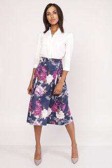 Lanti - Rozkloszowana spódnica za kolano, SP119 kwiaty
