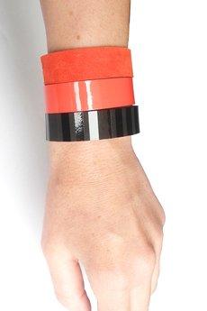 Mikashka - Komplet bransoletek czerwień i czerń paski
