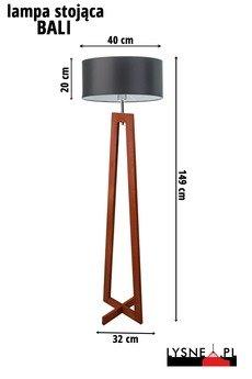 - Lampa Stojąca Bali Mahońowy Stelaż/Grafit Abażur