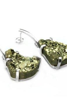 Brazi Druse Jewelry - Earrings Piryt srebro
