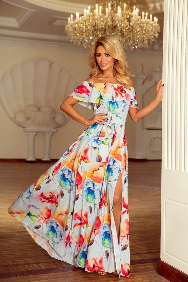 b735ee7a92 Sukienka Liliana Maxi Empire Malowane Kwiaty - Różowy I Wiele Kolorów