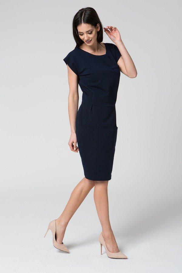 a3e09a160e Mosali - Sukienka Dresowa Bez Rękawów M018 - Granatowy