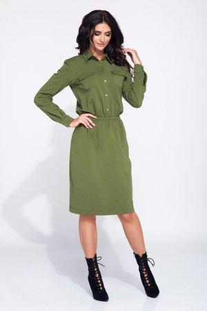 Sukienka dzienna z kieszonkami z przodu