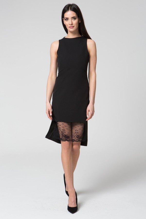 ec8f18a5f6 Mosali - Sukienka Z Wycieńciem Z Koronki M041 - Czarny