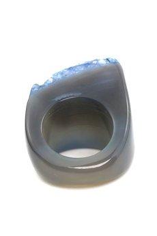 Brazi Druse Jewelry - InspiRING Druza Agatu Niebieska rozmiar 16