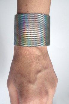 Mikashka - Bransoleta skórzana skóra holograficzna
