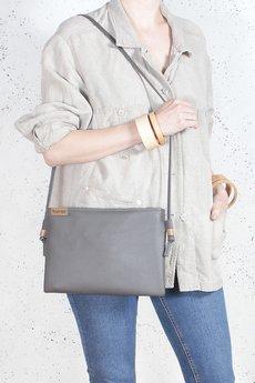 hairoo - Nodo bag szara kopertówka z paskiem na ramię