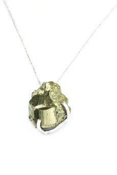 Brazi Druse Jewelry - Naszyjnik Piryt Surowy z Plamkami srebro
