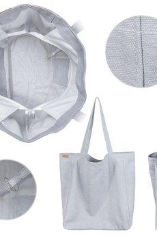 hairoo - Big Lazy bag jasnoszara bardzo duża torba z grubej bawełny na zamek